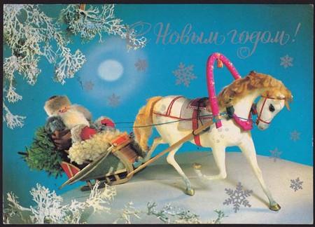 サンタさん白馬のそりでプレゼントを配る!