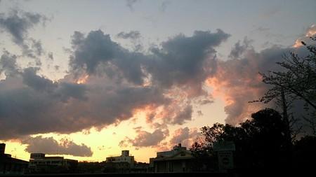 きれいな夕焼け!と思ったら、背後から不穏な雨雲( ゚д゚)ハッ!