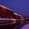 写真: 小樽運河の灯り