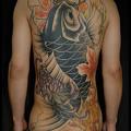 刺青,大阪,タトゥー,鯉,背中一面,紅葉,菊,タトゥー