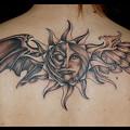 Photos: タトゥー 大阪 刺青 刺青画像,ブラック&グレー,太陽,羽,天使,悪魔,背中タトゥー