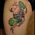 タトゥー 大阪 刺青 女性刺青画像,ワンポイントタトゥー,鳥,般若,四葉クローバー,女性太もも