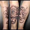 タトゥー大阪 刺青 ライオン/獅子,タトゥー 刺青画像 ブラック&グレー