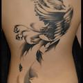 水墨画/刺青/背中一面/鳳凰/タトゥー/大阪/女性刺青画像/フェニックス