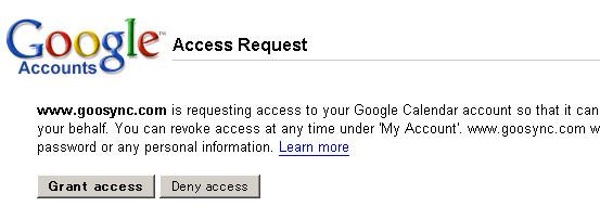 Photos: GooSync Google 認証画面