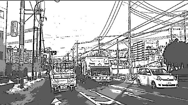 マンガ風画像 道路風景