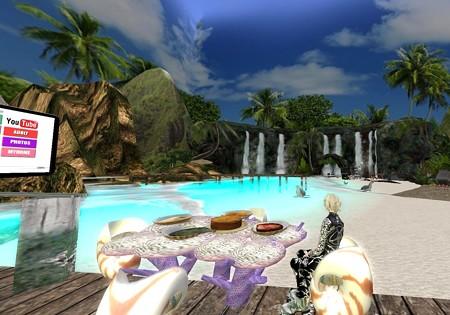 庭にビーチ