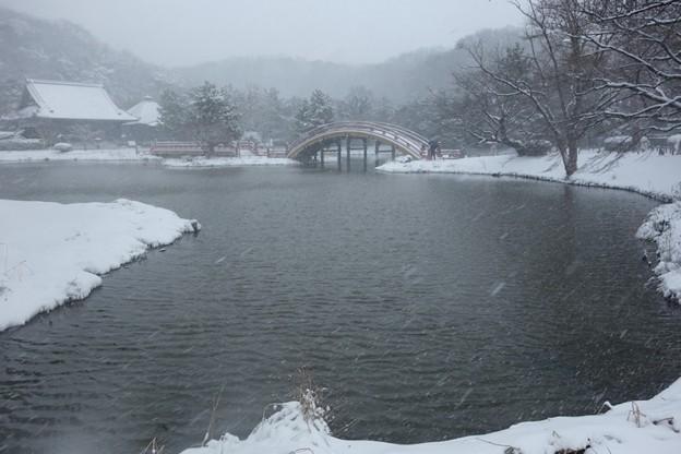 大雪の称名寺庭園全景!140208