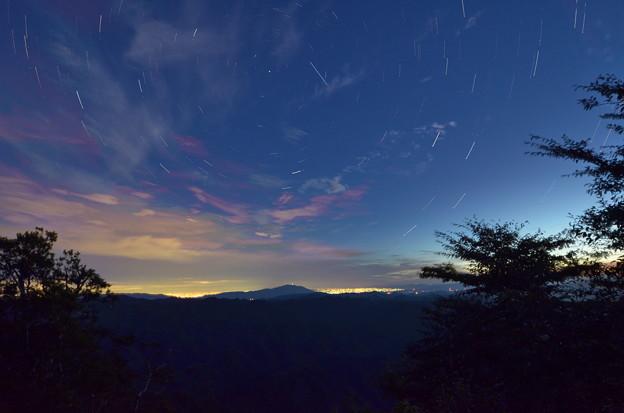 星空と遠い町明かり