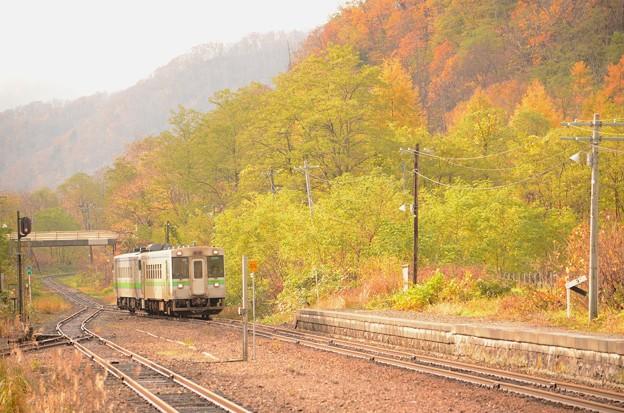 函館本線1931D然別駅入線キハ150+キハ40