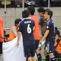 Photos: おしゃべりするうっちーとザキオカさん2(ヨルダン戦6.8)