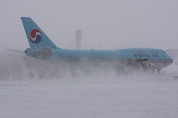 B747の雪けむり