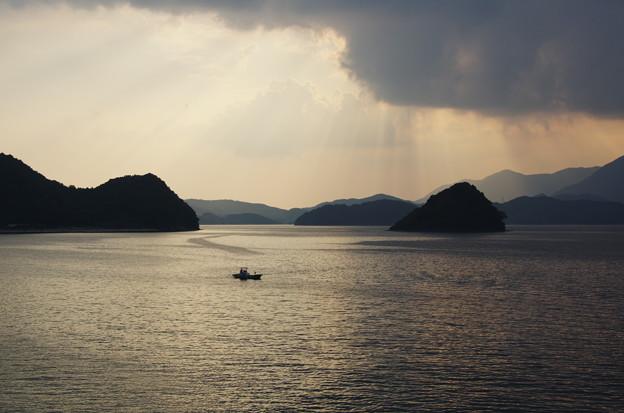 夕陽が降りてくる海