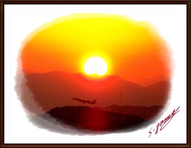 「夕日と機影・・」 です・・・・
