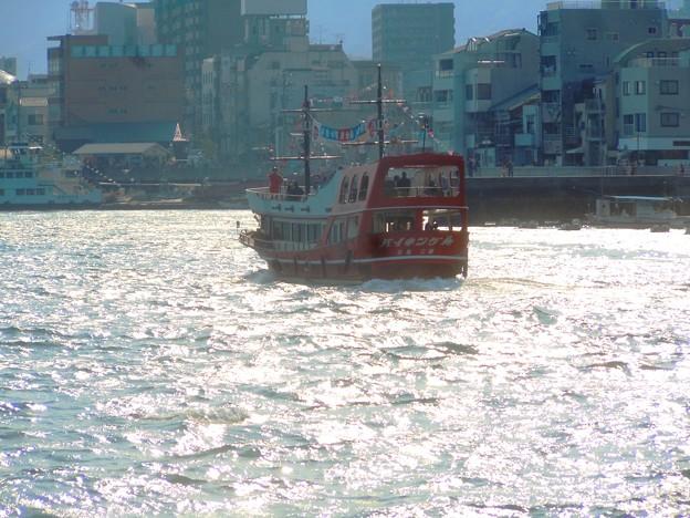 じゃっかん荒れ気味の海をゆく遊覧クルージング船バイキングA号