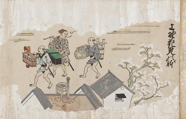 上野花見の躰    菱川師宣