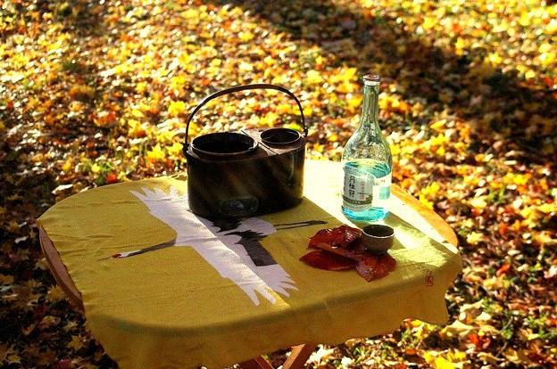 月桂冠と燗銅壺
