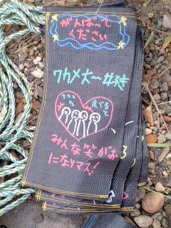 サンドバッグのメッセージ。