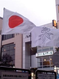 日の丸(国旗)と笹竜胆(鎌倉市旗)。
