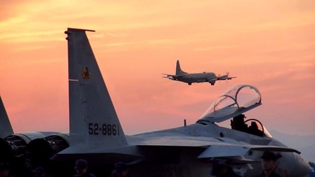 P-3Cと夕日