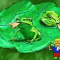 写真: 虫を採るカエル