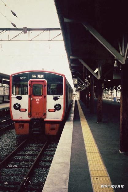 2001年の熊本駅0番Aホームの様子。