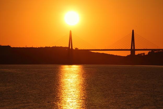 夕日とサンセットブリッジ内灘