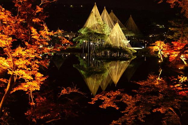 霞ヶ池 唐崎の松 紅葉とライトアップ(2)
