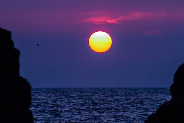 機具岩から 夕陽