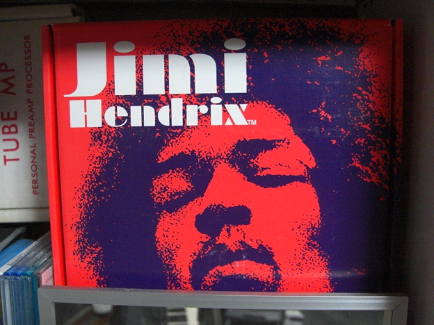 "Jimi Hendrix face print on a box of the pedal ""Fuzz Face"""