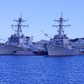 HDR 横須賀ヴェルニー公園の休日の朝・・米海軍イージス艦