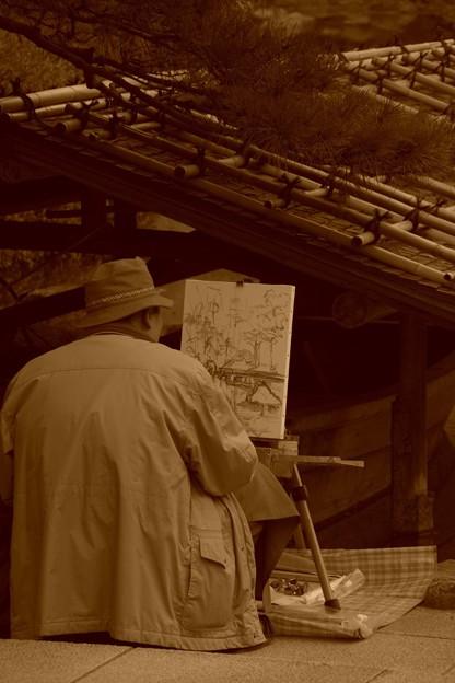 風景画を描くおじいさん。。。昭和記念公園20131109