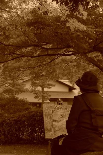 紅葉風景画を描く・・おばあちゃん 昭和記念公園20131109