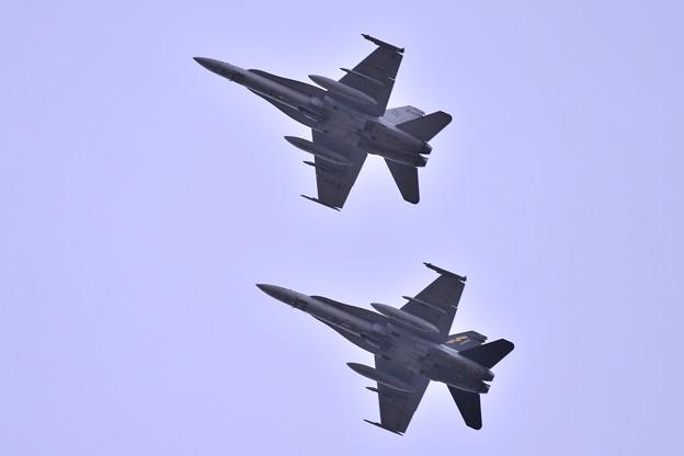 午後夕方間近の厚木基地へ飛来 岩国基地からの海兵隊VMFA-242 BATS 2機 F/A-18ホーネット・・20140113
