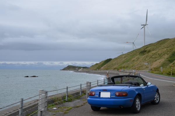 風車が並ぶ丘を見上げて