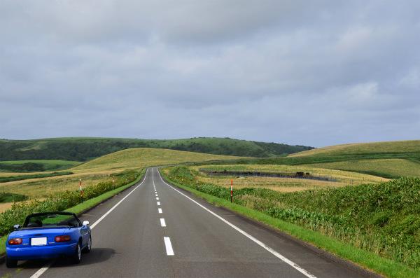 北の大地の緑の道にマリナーブルーのロードスターが映える