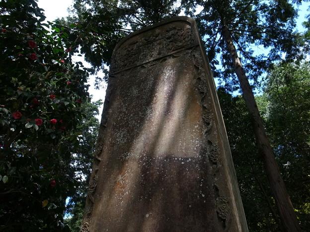 石碑と斜陽
