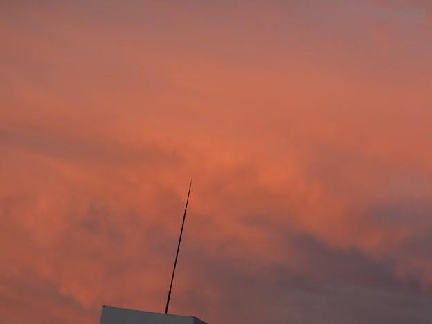 東雲の茜色の空