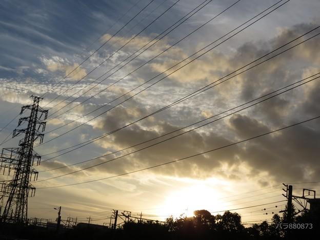 ウロコ雲と夕陽