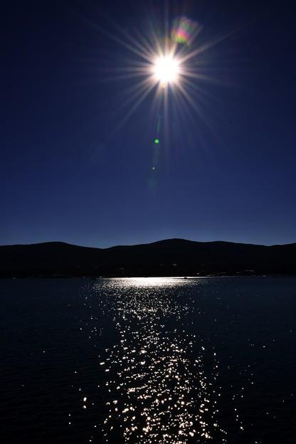写真: 輝く湖面